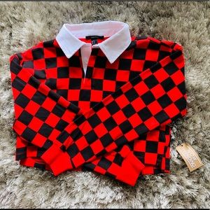 NWT FOREVER 21 Checked Long Sleeve Crop Top